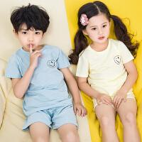男童睡衣儿童空调服女童短袖睡衣夏季薄款纯棉内衣小孩家居服套装