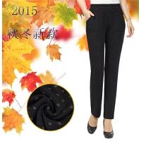 中老年女装秋冬季中年女装时尚圆点长裤妈妈装打底裤高腰裤