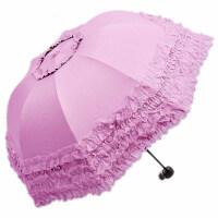 蕾丝伞女黑胶防晒太阳伞学生两用晴雨伞遮阳伞三折叠加厚雨伞女士蕾丝花边公主伞 半径: 55cm(含)-61cm(含)