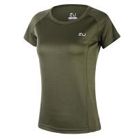 速干T恤女圆领透气短袖健身衣半袖吸汗跑步体恤户外薄款运动上衣 2X