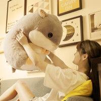 可�叟�}鼠暖手抱枕插手布娃娃公仔玩偶松鼠毛�q玩具大�床上睡�X布偶女生