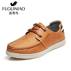 富贵鸟潮流韩版休闲皮鞋男士系带休闲鞋男潮鞋皮鞋