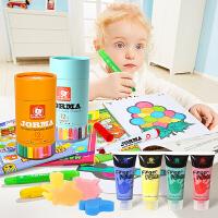 特宝儿绘画套装 12色儿童蜡笔水彩笔水彩笔儿童手指画玩具画笔彩笔画画 绘画套装玩具