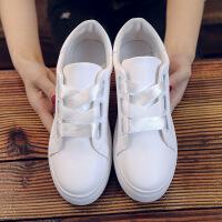ins超火的鞋子女2018新款帆布鞋女学生韩版原宿ulzzang小白鞋百搭 XF02白色丝带后跟桃心