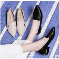 古奇天伦春季新款韩版百搭尖头单鞋小皮鞋一脚蹬乐福鞋中跟粗跟女鞋子ZV08872