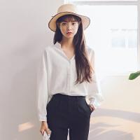 2018春秋新款韩版百搭衬衣学生小清新宽松v领白色衬衫长袖上衣女