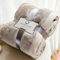 家纺法兰绒纯色床单毛毯子加厚单人双人空调珊瑚绒秋冬季毯盖 卡其色 152cmx238cm 3斤
