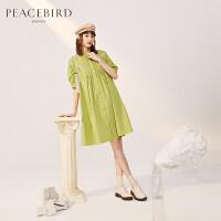 直播7折太平鸟绿色衬衫连衣裙春装2020新款落肩泡泡袖宽松连体裙