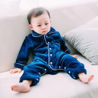 婴童婴幼儿婴儿睡衣珊瑚绒宝宝连体衣冬女0一1-2岁加厚新生儿哈衣