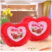 抱枕十字绣新款客厅沙发靠垫喜庆红色粉色蕾丝花边桃心枕一对套件 送枕芯