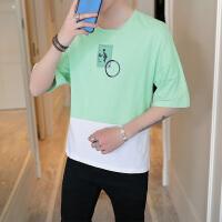 夏季男短袖t恤青少年圆领半袖印花白体恤男装上衣纯色帅气潮T617
