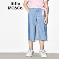 【折后价:140.7】littlemoco夏季新品儿童牛仔裤宽松直筒拼色剪边全棉裤子