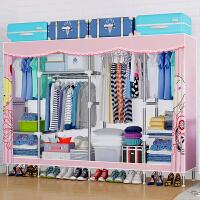 简易布衣柜钢管加粗加固加厚单双人布艺钢架收纳储物柜子挂衣橱j