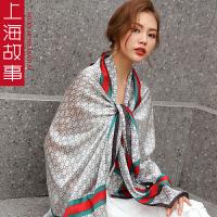 上海故事围巾披肩女春秋丝巾长款百搭新款夏季防晒女护颈纱巾薄款