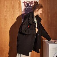 [1件2.5折价249.5元]唐狮棉衣女冬装新款宽松中长款工装外套女学生韩版休闲潮