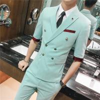 夏季夜店发型师七分袖西装外套男韩版修身帅气中袖西服套装