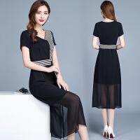 2018夏季新款韩版修身显瘦中长款冷淡风雪纺连衣裙中年夏天裙子女 黑色 连衣裙