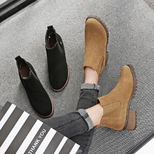 毅雅2017秋冬磨砂牛反绒短靴平底低跟英伦风马丁靴粗跟复古松紧带裸靴