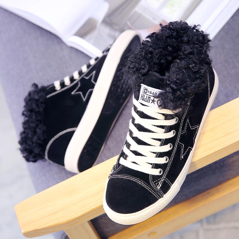 环球棉鞋女冬季保暖加绒韩版2017新款短筒学生休闲女鞋百搭雪地靴