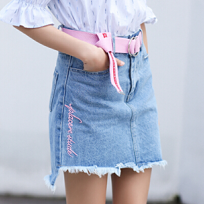 RANJU 然聚2018女装夏季新品新款高腰包臀短裙女A字裙绣花不规则毛边牛仔裙