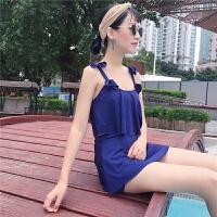 韩版女装分体游泳衣三件套保守遮肚少女温泉小胸聚拢泳衣显瘦泳装 (160/84A)均码