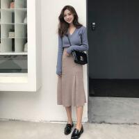 秋冬季网红女时尚两件套2018新款晚晚风气质女神范针织港味套装裙 X