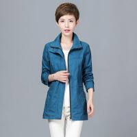 外套女春秋装新款潮韩版中老年大码女装纯色全棉夹克短款风衣