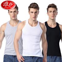 3件 浪莎男士背心纯棉青年透气夏季宽松汗衫跨栏吊带白色运动打底