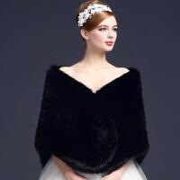 秋冬季保暖厚仿狐狸毛新娘婚纱披肩旗袍结婚皮草白色伴娘新款