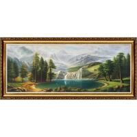 纯手绘欧式风景客厅油画沙发背景墙装饰画聚宝盆风水山水挂画 加麻布内框
