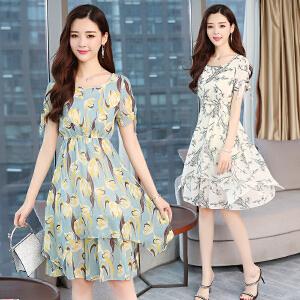 夏季新款短袖小清新印花裙中长款修身圆领雪纺连衣裙