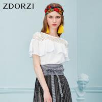 卓多姿ZDORZI2018夏新款荷叶边蕾丝拼接上衣女736E470