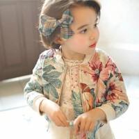 韩国童装秋冬2017新款 韩版女童碎花夹棉外套 儿童拉链夹克上衣