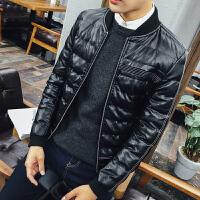 男士冬季新款棉衣韩版修身外套PU皮夹克青年棒球服羽绒棉袄加厚潮