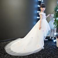 2017新款春 夏 儿童礼服婚纱裙拖尾蓬蓬裙花童礼服裙演出服女童晚礼服 白色
