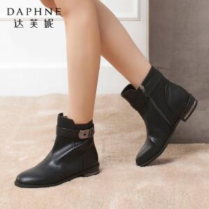 Daphne/达芙妮冬季热卖女鞋 时尚圆头低跟方跟搭扣侧拉链短靴