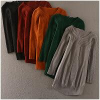 冬季修身V领打底衫长袖保暖套头针织衫女D22-11998