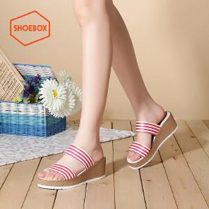达芙妮旗下shoebox鞋柜夏季时尚厚底松糕鞋中跟一字拖凉鞋休闲坡跟女鞋