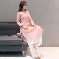 秋装改良复古棉麻连衣裙中长款两件套套装旗袍中国风茶服女