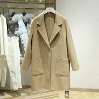 双面呢大衣女冬装新款 韩版中长款纯色一粒扣显瘦毛呢外套