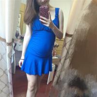 孕妇准妈妈连体高腰平角裙款加肥加大有钢托钢圈比基尼女泳衣泳装