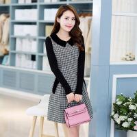 长袖年秋季甜美千鸟格显瘦拼接韩版连衣裙 图片色