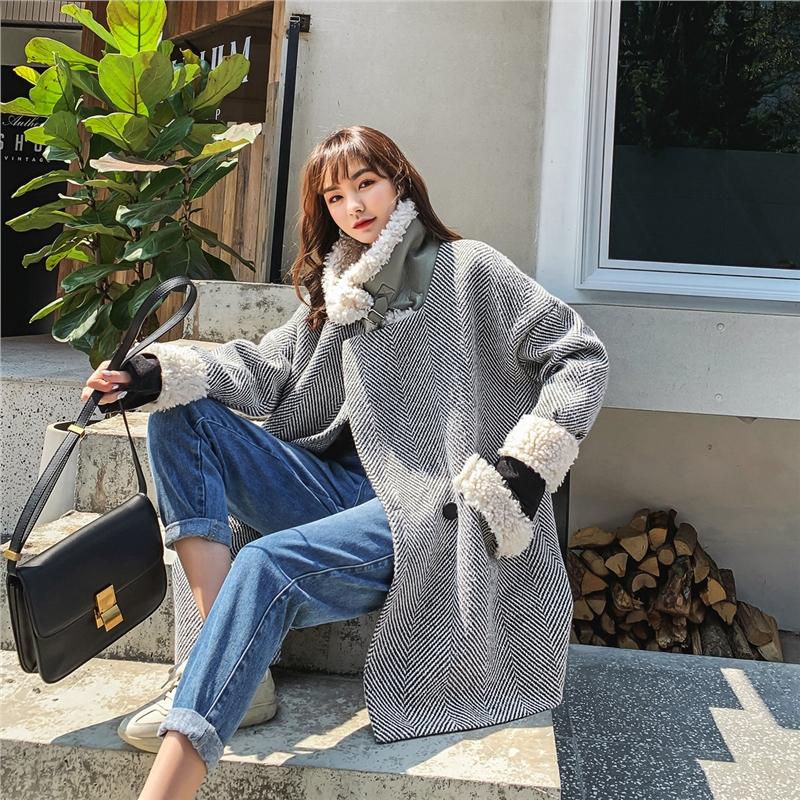 七格格毛呢大衣女中长款羊羔毛厚款上衣2019新款冬季宽松呢子外套