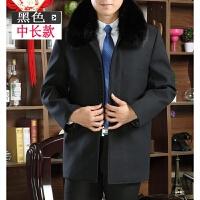冬装新款中老年男装中长款风衣男士加绒加厚外套毛呢子大衣带毛领 黑色 纯色中长款