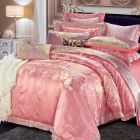 家纺贡缎提花床上用品全棉四件套欧美式十件套结婚庆1.8双人床上被套