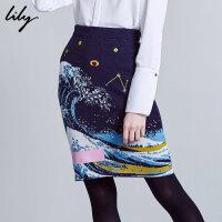 Lily冬新款女装时尚海浪个性包臀裙OL高腰显瘦半身裙116450B6301