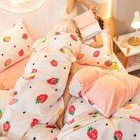 网红款珊瑚绒四件套法兰绒纯棉全棉被套水晶床单床上三件套