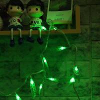 LED小彩灯闪灯串灯 绿树叶柳叶星星串串装饰灯创意圣诞节日星星灯