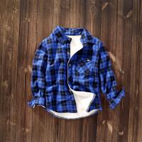 男童长袖衬衫秋冬款洋气加绒格子衫保暖中大童衬衣潮