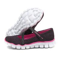 斯凯奇童 童鞋 女小大童4-13岁魔术贴健步鞋81245L/BKHP